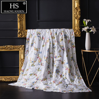 White Tencel 500 Thread Count Fabric Thin Quilt Floral Pattern Summer Comforter Adult Double Bed Cover Queen King Size Blanket