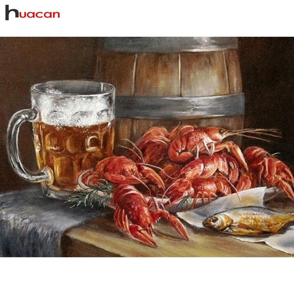 Huacan diamant peinture dessin animé complet rond forage diamant broderie vente bière crabe point de croix strass mosaïque Kits