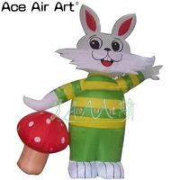 hot selling easter green inflatable bunny rabbit with red mushroom for easter sale