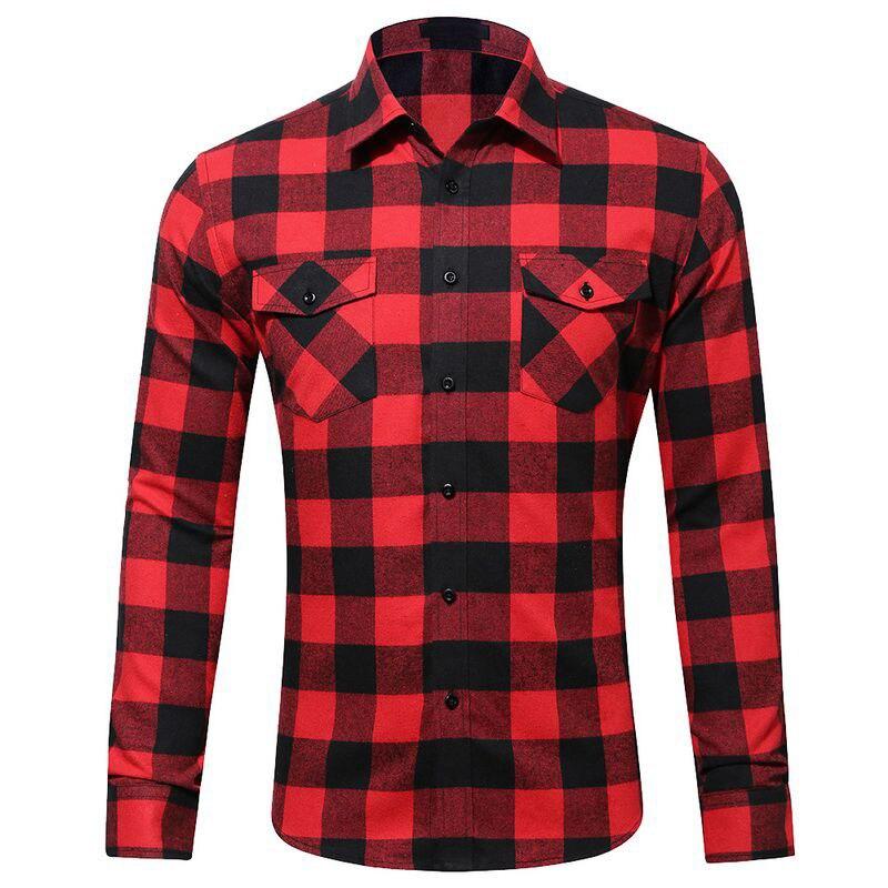 CYSINCOS Red And Black Plaid Shirt Men Shirts Autumn Fashion Chemise Homme Mens Checkered Shirts Long Sleeve Shirt Men Blouse