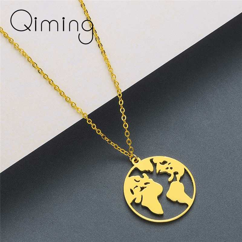 World Map Globe Necklace Women Fashion Stainless Steel Friendship Pendant Necklace Statement Jewelry Men Collier