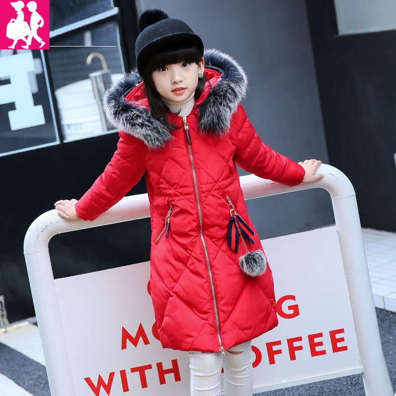 down winter jacket for girls thickening long coats big children 's clothing 2017 girl' s jacket Outwear 5-14 year down winter jacket for girls thickening long coats big children s clothing 2017 girl s jacket outwear 5 14 year