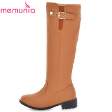 large size 34 43 new arrive women s knee high boots square heel round toe autumn