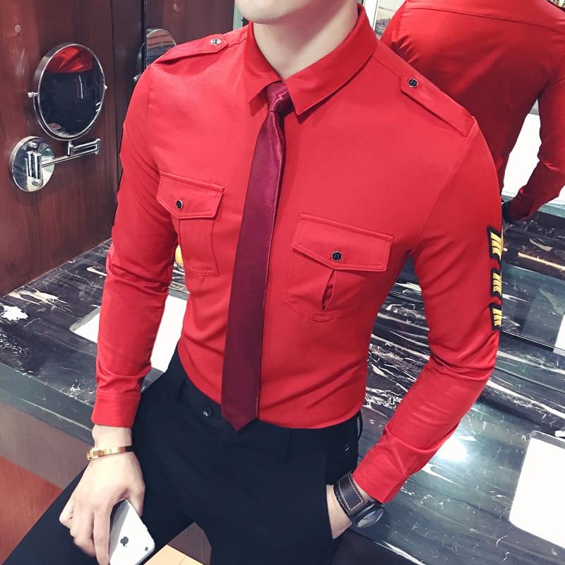 YC018*'s Shirt Barber Korean Metrosexual Man Work Wear Long Sleeved Shirt Tie P50 Code To Send You.
