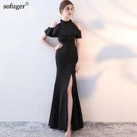 2018 Black Halter Sexy Short Sleeves Floor Length Mermaid Evening Dresses Elegant Customized Fashionable New arrival Dresses