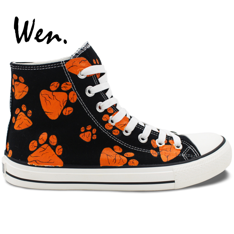 ФОТО Wen Design Custom Hand Painted Shoes Dog Paws Print High Top Black Canvas Sneakers Birthday Gifts for Men Women