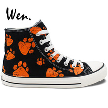 Wen Design Custom Hand Painted Shoes Dog Paws Print High Top Black Canvas Sneakers Birthday Gifts for Men Women