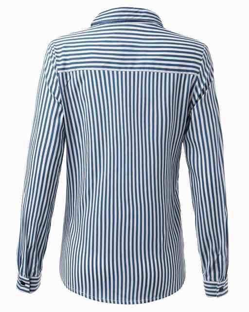24a0f23aa80 Blusas Femininas 2018 Spring Women Blouses Fashion Long Sleeve Lapel Striped  Shirt Loose Casual OL Work