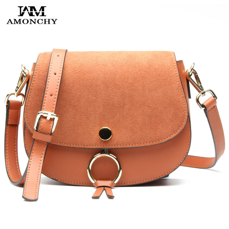 2018 New Women's Genuine Leather Bags Nubuck Leather Ladies Shoulder Bags Celebrity Saddle Bag Ring Woman Messenger Bag Sacs S39 sa212 saddle bag motorcycle side bag helmet bag free shippingkorea japan e ems