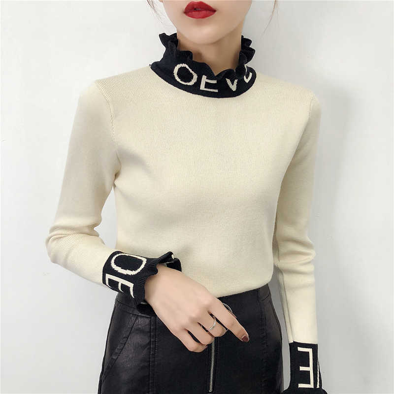 2020 Winter Long Sleeve Love Letter Sweaters Women Fashion Letter Neck Sweaters Female Body Strechy Knitwear Tops Yellow Sweater