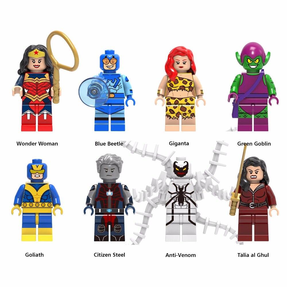 Серии X 8 шт. Строительный кирпич Куклы нам герои синий жук гигиента Wonder Woman TALIA Аль гул Citizen Сталь подарок на день рождения для детей