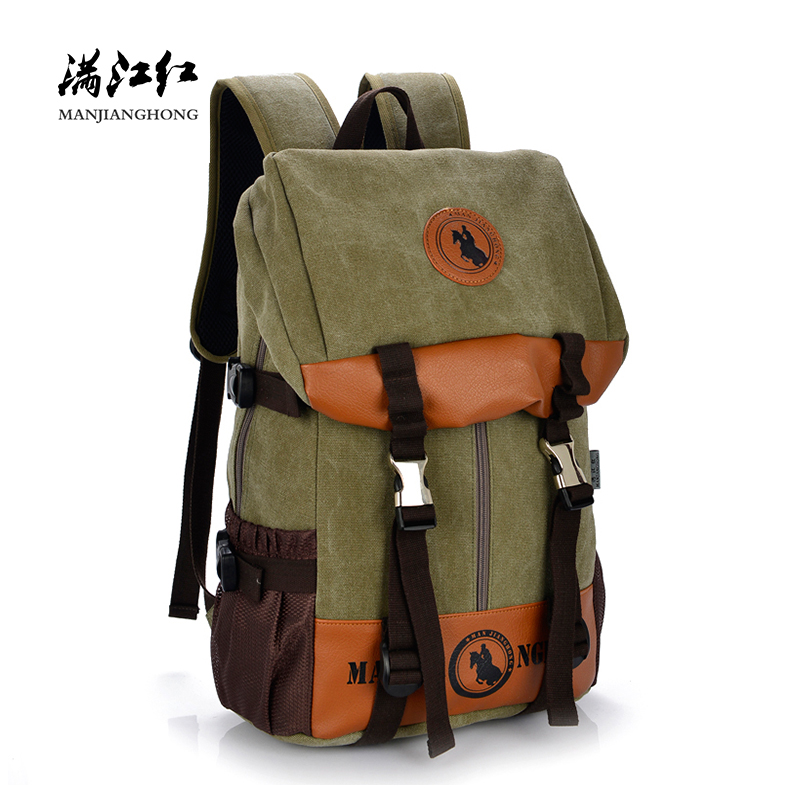 Large Capacity Casual Men Women Canvas Backpack Travel Patchwork Leather Laptop Backpack 15 Inch School Bags