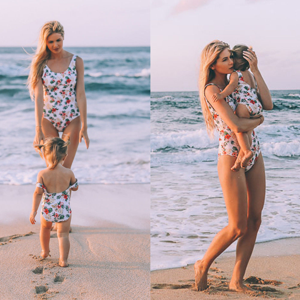 Floral Family Matching Swimwear One Piece Swimsuit For Mother And Daughter Baby Girl Summer Swimwear Beach Swimming Clothes Купальник