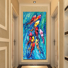 HD Print Chinese Abstract Nine Koi Fish Oil Painting on Canvas Wall Art For Home Decor