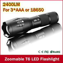Big Promotion Ultra Bright CREE XML-T6 2400Lumens cree led Torch Zoomable LED Flashlight For 3xAAA or 1×18650 Free shipping