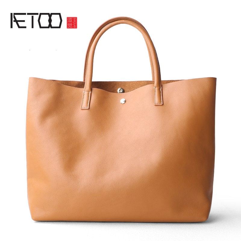 AETOO New leather tote font b bag b font original female large capacity font b shopping