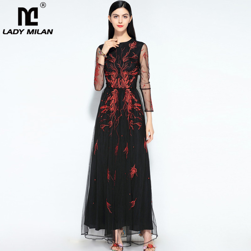 New Arrival Womens O Neck Long Sleeves Embroidery Elegant Casual Maxi Prom Fashion Designer Runway Party Dresses