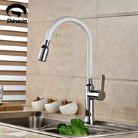 NEW Single Handle Kitchen Sink Faucet White And Chrome Finish Kitchen Mixer Tap