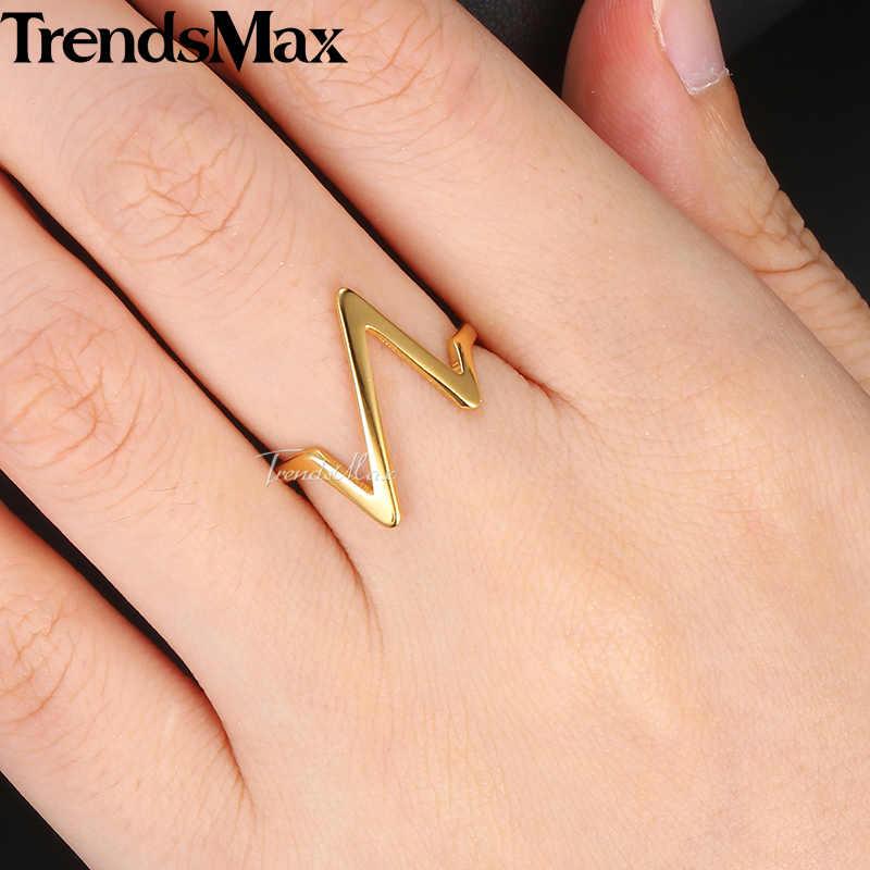 Trendsmax แหวนทอง/Rose Gold สแตนเลสสตีล Cardiogram Heartbeat คู่แต่งงานแหวนขนาด 6-12 KKRM40