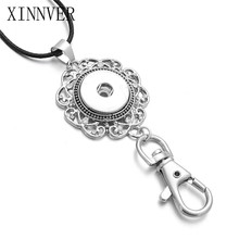 New Snap Necklace Button Pendant Jewelry Crystal Flower Snap Necklaces Fit 18mm 20mm Snap Holder Valentine's Day Gift