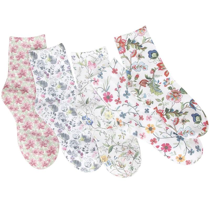 5 Pairs Women's Socks Vintage Flowers 3D Full Print Sock Women Short Socks Lovely Sokken Cotton Hosiery Elegant Socks Girl Meias