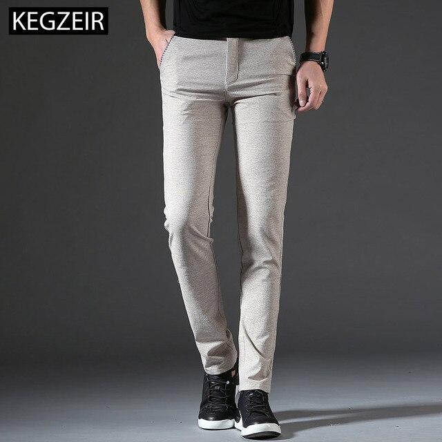2019 New Design Autumn Summer Mens Fashion Pants Classic Business Casual Linen Trousers Men Straight Slim Pants Men Plus Size