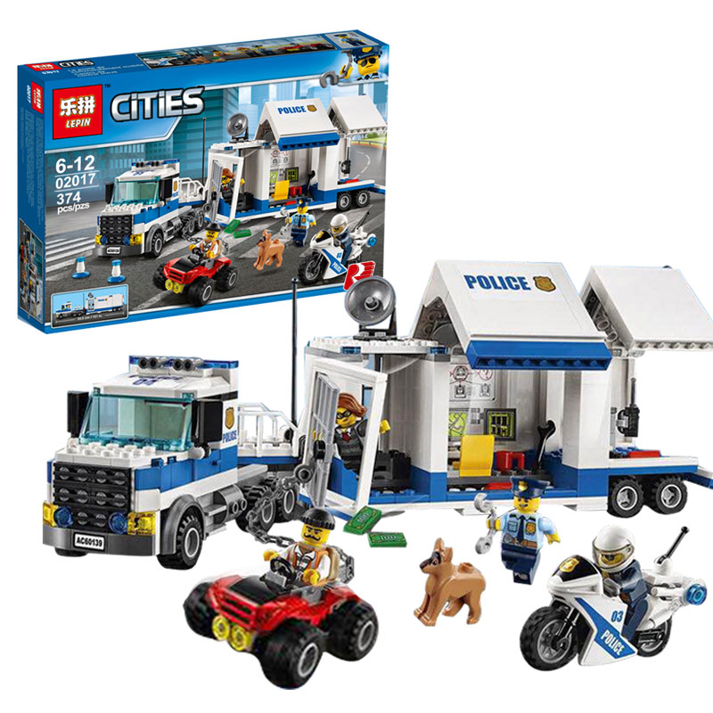 Lepin 02017 City Policemen Series The Moving Command Car Set Children Educational Building Block Brick Toys boy gift Model 60139