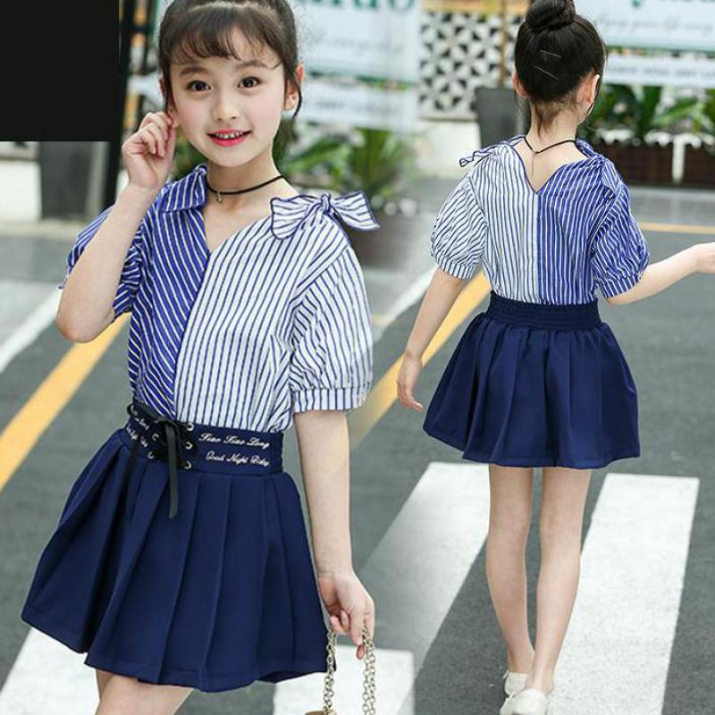 Girls Clothes Sets For Girls 2018 Summer Short-Sleeved Striped Blouses Shirts + Pleated Skirts Kids Childrens Teen Clothing Sets kids clothes sets for girls turn down collar blouses