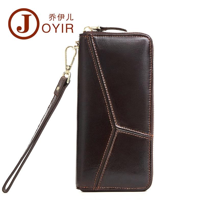 цена на JOYIR Vintage Genuine Leather Men Wallets Clutch Bag Zipper Money Card Holder Long Large Capacity Male Coin Purse for iPhone NEW