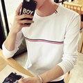 2017 Otoño nueva camiseta ocasional de moda Delgado cuello de o camiseta de algodón Más El tamaño M-5XL manga larga para Hombres Ropa envío gratis
