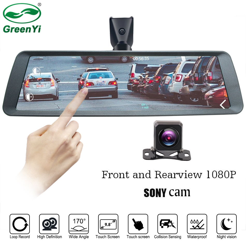 Greenyi Car DVR Shell-Mirror-Monitor Dash-Cam Full-Touch-Screen Double-1080p HD Full-Zinc-Alloy