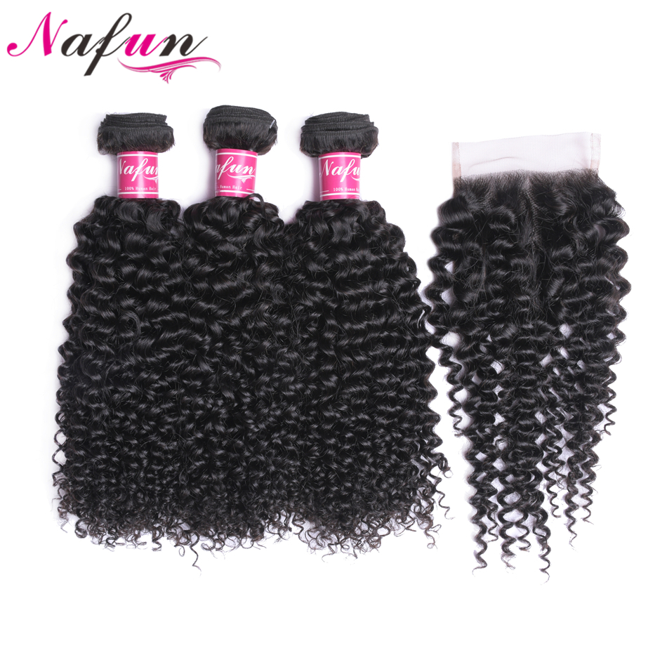 NAFUN Kinky Curly Hair Weave Bundles Remy 3 Bundles With Lace Closure Peruvian Human Hair 30
