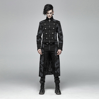 PUNK RAVE Men's Gothic Punk Retro Detachable Jacket Coat Punk Handsome Stage Performan Party Trench Coat