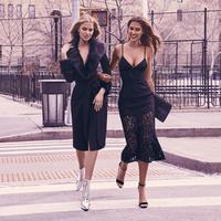 women Summer 2019 new sling bow dress fish tail temperament lace dress