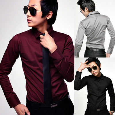 Men clothing mens classic long sleeve shirts men 39 s wine for Wine colored mens dress shirts