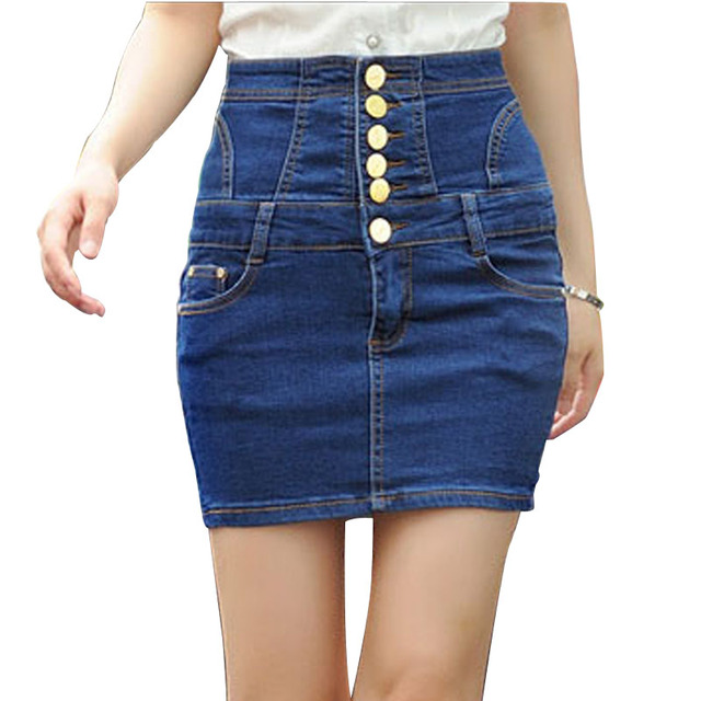 High waist Ladies Jeans Skirt Dark Blue Black Button Front Denim ...