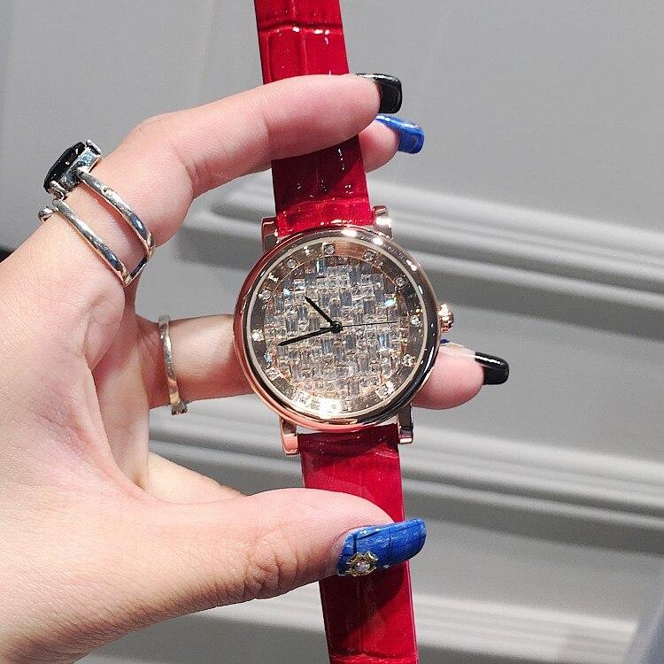 New Fashion Luxury Women Watch Rhinestone Casual Quartz Watch Ladies Popular Leather Strap Elegance Wristwatch Reloj Relogio  недорого