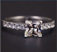T Style 925 Sterling Silver 1 Carat Princess Cut SONA Simulated Gem Engagement Rings For