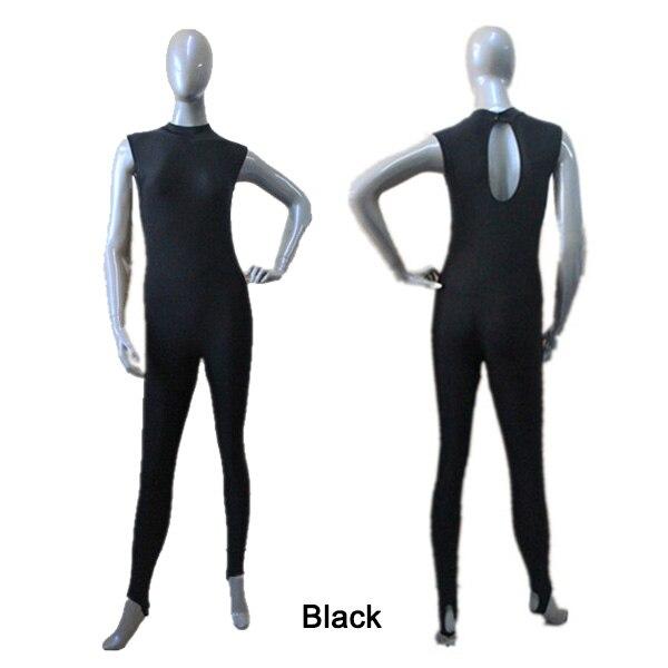 Bailarín de opciones negro catsuit plata TORTUGA-Cuello sin mangas ...