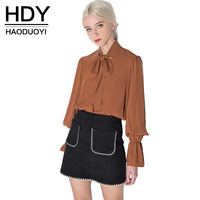 Haoduoyi Womens Summer Bow Cute Lantern Sleeve Solid Cute Girl Shirts Blouses Loose Casual Feminina Femme