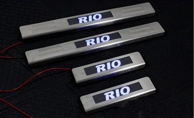With Blue LED light stainless steel Scuff Plate/Door Sill For 2010-2015 Kia RIO 4PCS/SET ...