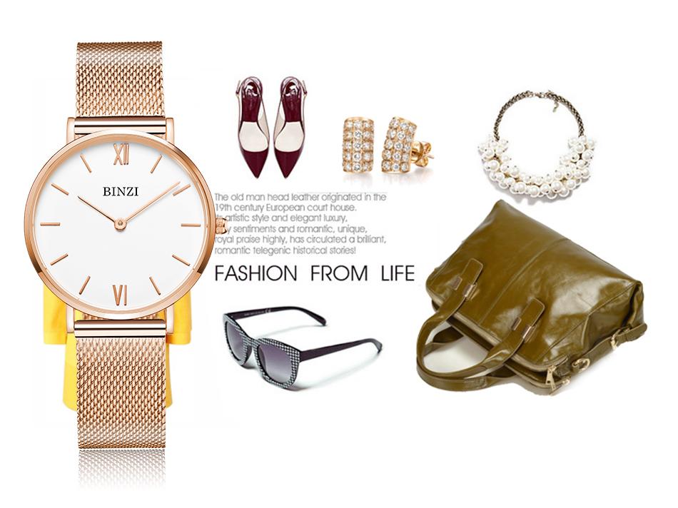 3c5f49e5f4f BINZI Prata Genebra Mulheres Relógios de Ouro De Luxo À Prova D ...