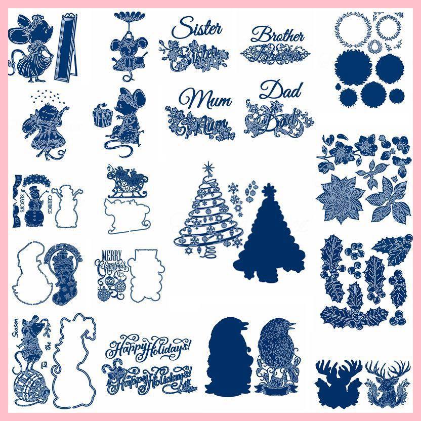 Mom Dad Floral Words Mouse Christmas Tree Leaves Cutting Dies Scrapbooking Card Photo Making Crafts Die Cut New 2019