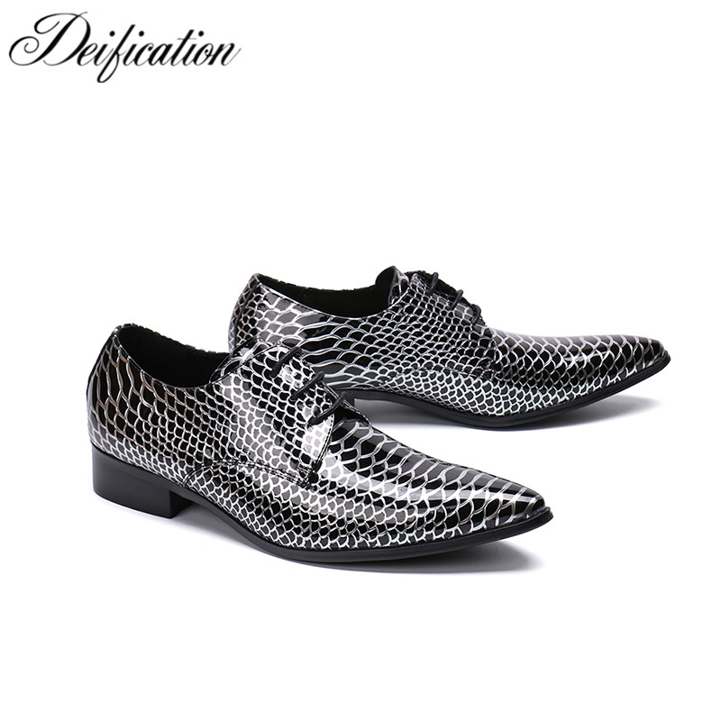 Fashion Snake Skin Prineted Mens Dress Shoes Zapatos De Hombre Lace Up Office Formal Shoes Pointed Toe Party Dress Shoes For Men mens shoes high heels pointed toe dress shoes lace up genuine leather italian formal shoes men office plus size zapatos hombre