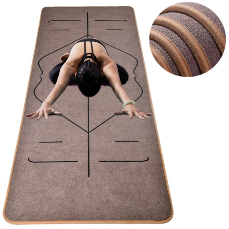 Microfiber Yoga Mat with Body Alignment Lines Fitness