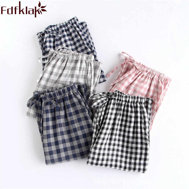 Fdfklak Couple Sleeping Pants Women Bottoms Plaid Pajama Pants Cotton 2018 New Spring Summer Sleepwear Trouser Lounge Wear Q1284