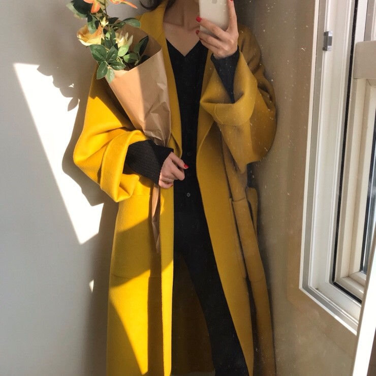 Women Elegant Winter wool Overcoat Long Bandage Woolen Coat Cardigan Loose Plus Size Abrigos Mujer Manteau Femme Hiver 4
