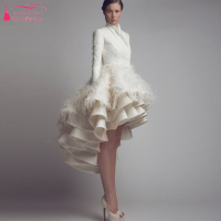 Gorgeous Feather Wedding Dresses Long Sleeve African Turkey Bridal Gowns Short Front Long Back short spring Wedding Dress Z241