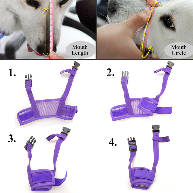 Hot Pet Dog Adjustable Masker Bark Bite Mesh Mulut Moncong Grooming - Produk hewan peliharaan - Foto 5