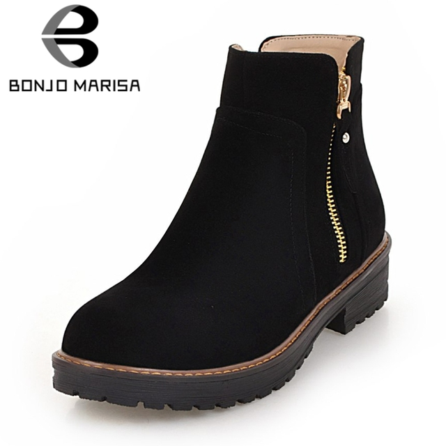 35d31a58e65 BONJOMARISA Large Size 33-43 Sweet Round Toe Platform Ankle Boots Women  Autumn Winter Add Fur Med Heels Shoes Woman